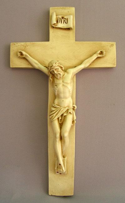 """Crucifix Antiqued Ceramic 16"""""""