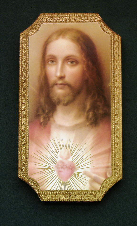 Sacred Heart Of Jesus Florentine Plaque 4.75X9""