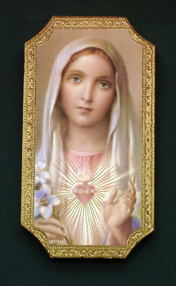 Immaculate Heart Of Mary Florentine Plaque 4.75X9""