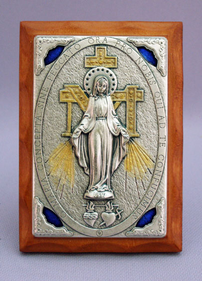 Miraculous Medal Plaque Metal On Wood 3X4""