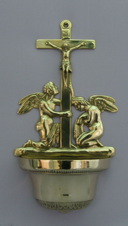 Crucifixion With Angels Font Shiny Brass 12.25""