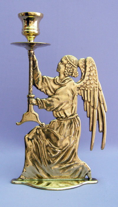 Angel Candle Holder Shiny Brass 9.75""