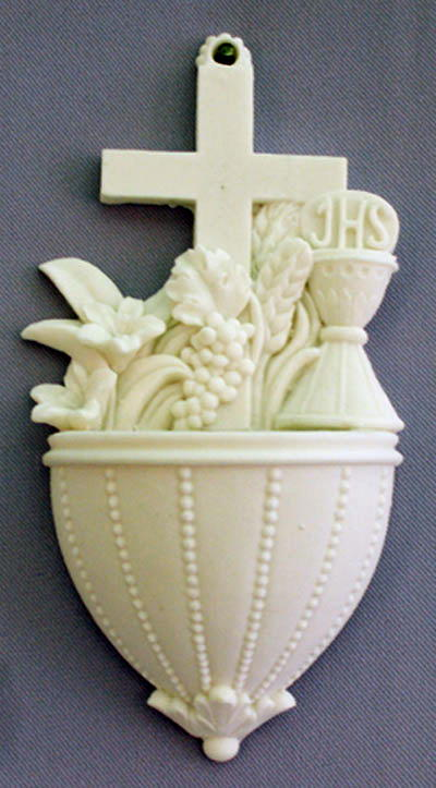 Communion Font With Lilies And Chalice White Alabaster 5.5""