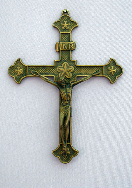 Crucifix Antiqued Brass 8.75""