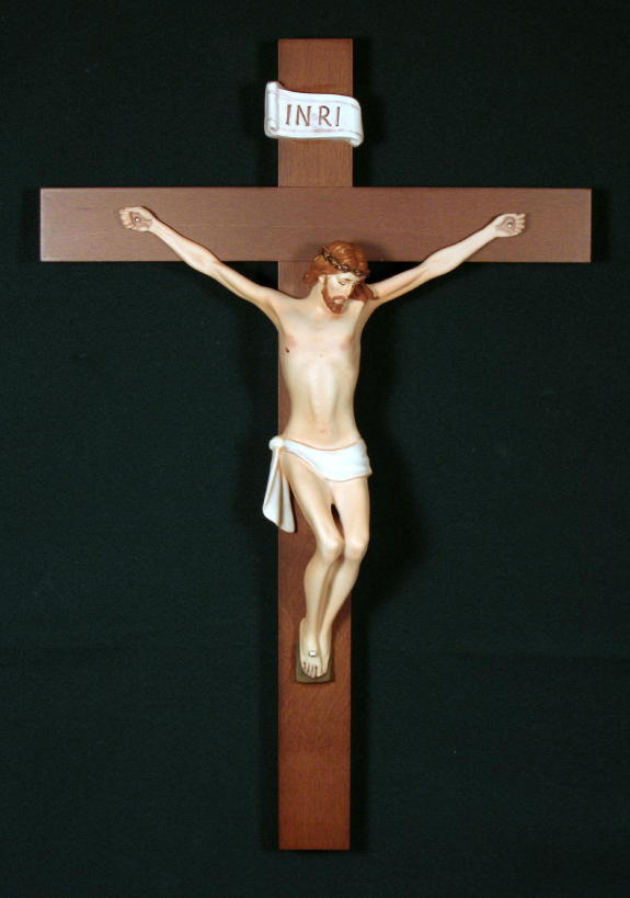 """Crucifix Hand-Painted Alabaster 17.75"""""""