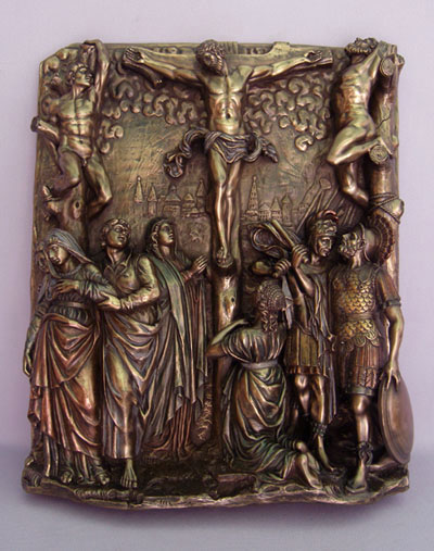 Calvary Wall Plaque Cold-Cast Bronze Lightly Hand-Painted 12X14""
