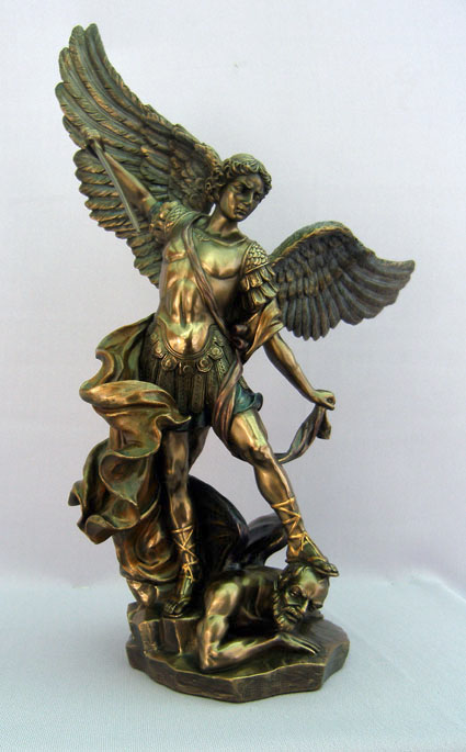 St. Michael Statue Cold-Cast Bronze Lightly Hand-Painted 14.5""