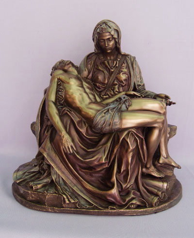 Pieta Statue Cold-Cast Bronze Lightly Hand-Painted 10""