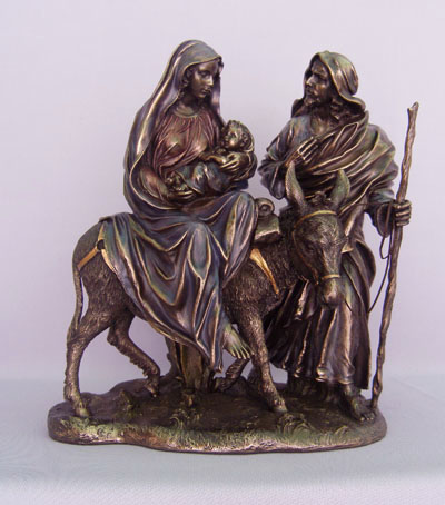 Flight To Egypt Cold-Cast Bronze Lightly Hand-Painted 10.5""