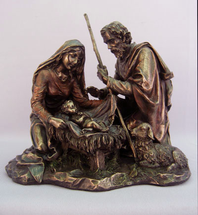 Nativity One Piece Cold-Cast Bronze Lightly Hand-Painted 8.25""
