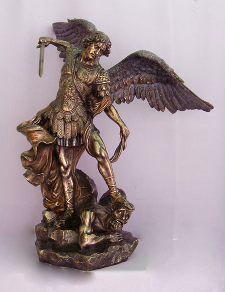 St. Michael Cold-Cast Bronze Lightly Hand-Painted 29""