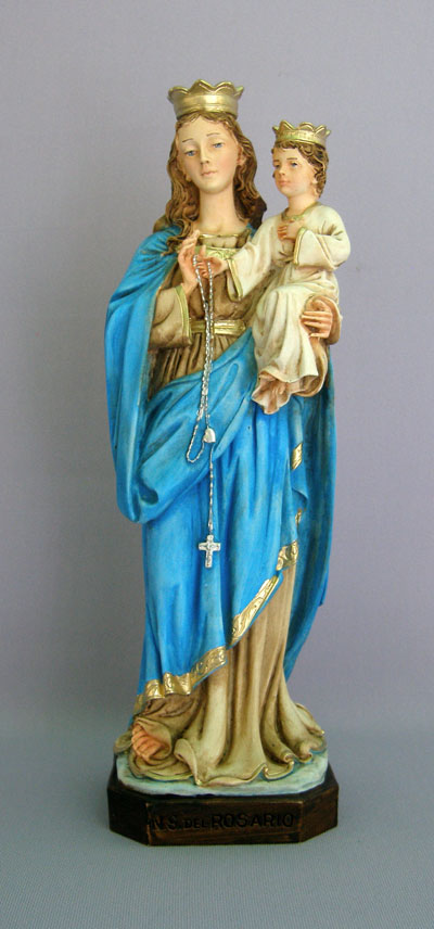 """Our Lady Of The Rosary Hand-Painted Alabaster 11"""""""
