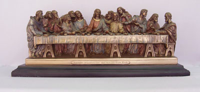 Last Supper Cold-Cast Bronze Lightly Hand-Painted 14X4.5X6""