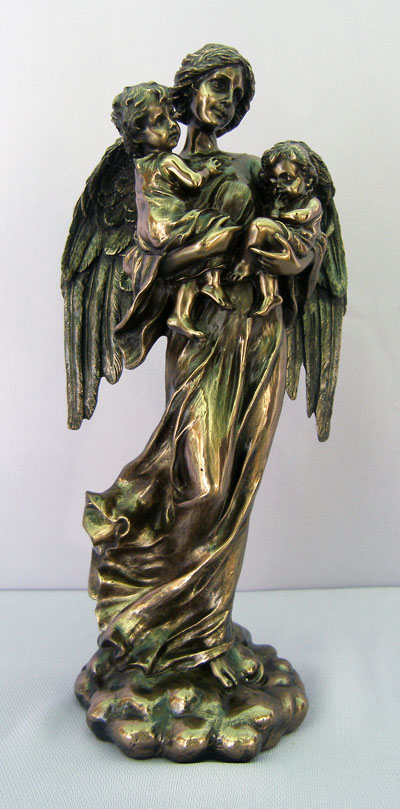 Guardian Angel With Children Cold-Cast Bronze Lightly Hand-Painted 11""