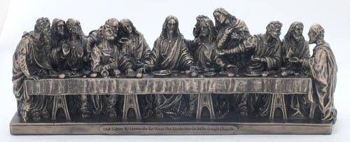 """Last Supper Statue Cold-Cast Bronze 9.5X2.25X3.5"""""""