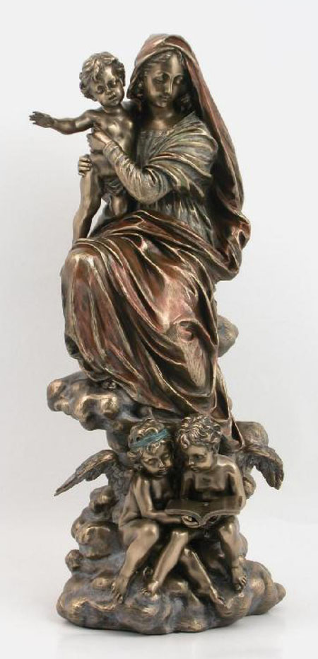 Madonna And Child With Angels Cold-Cast Bronze 12.75""