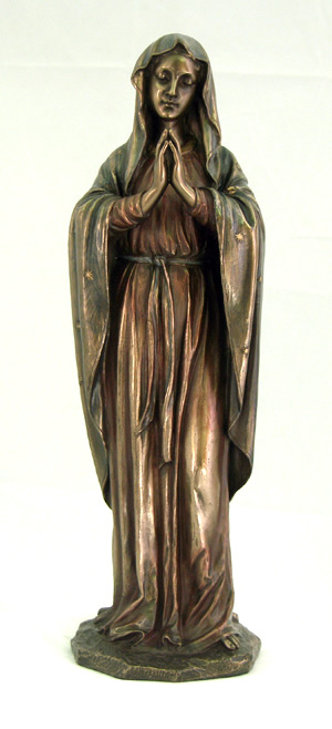 Praying Virgin Cold-Cast Bronze Lightly Hand-Painted 11.75""