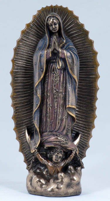 Our Lady Of Guadalupe Cold Cast Bronze Lightly Hand-Painted 9.5""