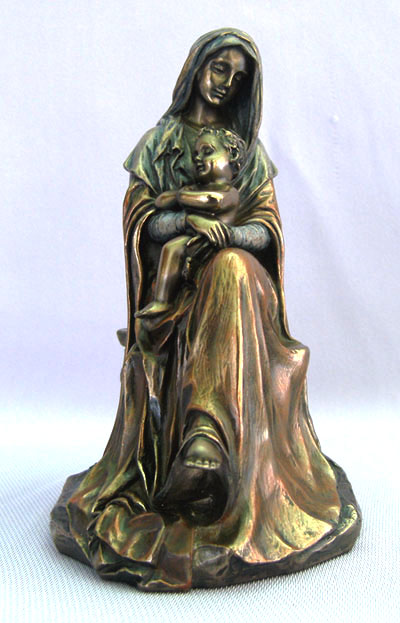 Madonna And Child Cold-Cast Bronze Lightly Hand-Painted 6""