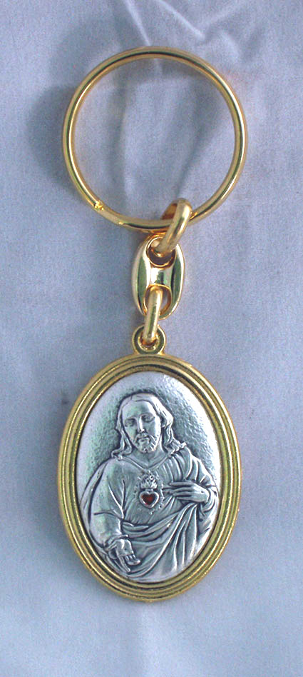 Sacred Heart Of Jesus/Immaculate Heart Of Mary Key Chain 3.5""