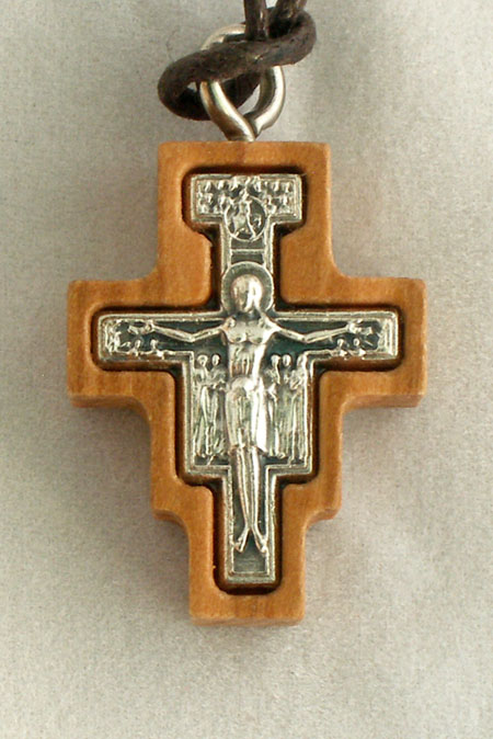 San Damian Necklace Wood/Silver 28""