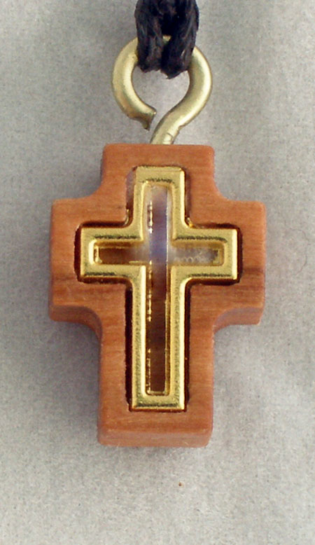 Cross Necklace Wood/Gold 26""