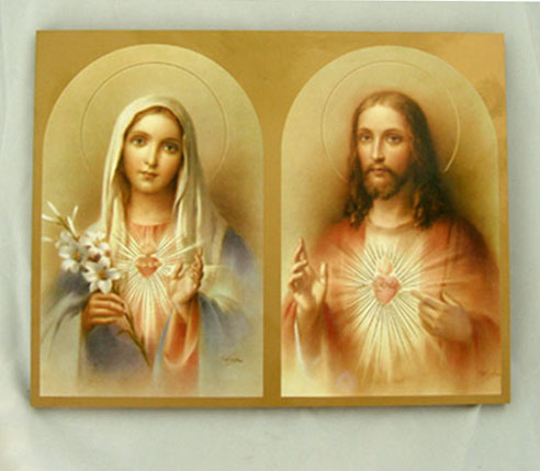 Sacred Heart Of Jesus/Immaculate Heart Of Mary Plaque 7.75X9.75""