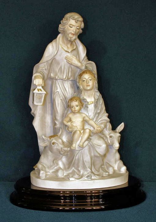 Holy Family By Furiesi Lightly Hand-Painted Alabaster 12""