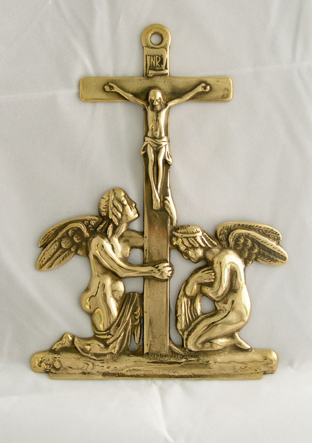 Crucifixion With Angels Wall Plaque Shiny Brass 9""