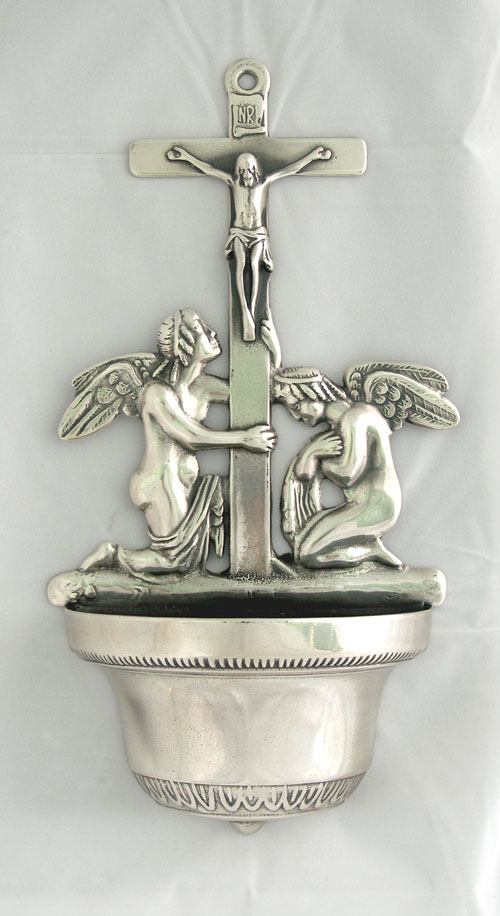 """Crucifixion Font Silver-Plated Brass 12.25"""""""