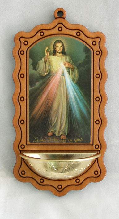 Divine Mercy Wood/Gold 3.5X7""