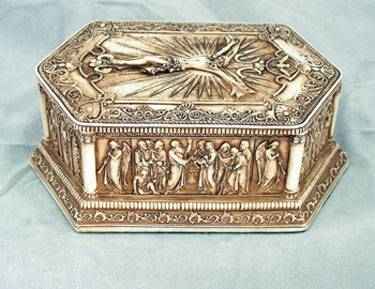 "Antiqued Crucifixion Box 5.25""X 3.25""X2"""