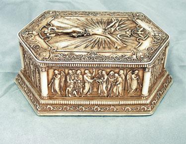 "Antiqued Crucifixion Box 5.25""X 3.25""X2"""