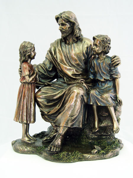 Christ With Children Cold-Cast Bronze 8.25""