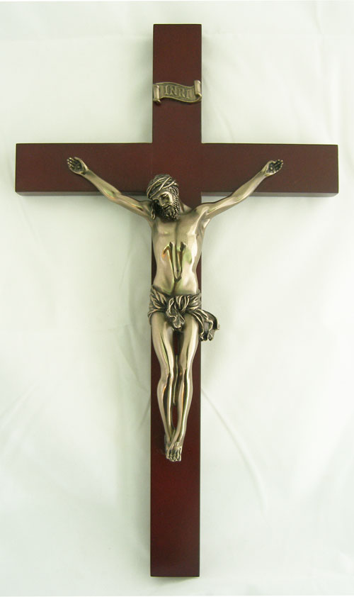 Crucifix Bronze Corpus Wood Cross 14""