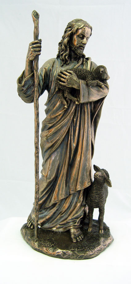 The Good Shepherd Cold-Cast Bronze Lightly Hand-Painted 11.5""