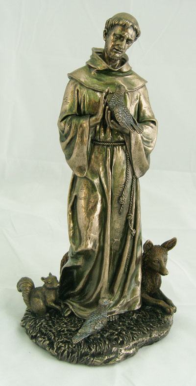 St. Francis With Animals Cold-Cast Bronze Lightly Hand-Painted 12""