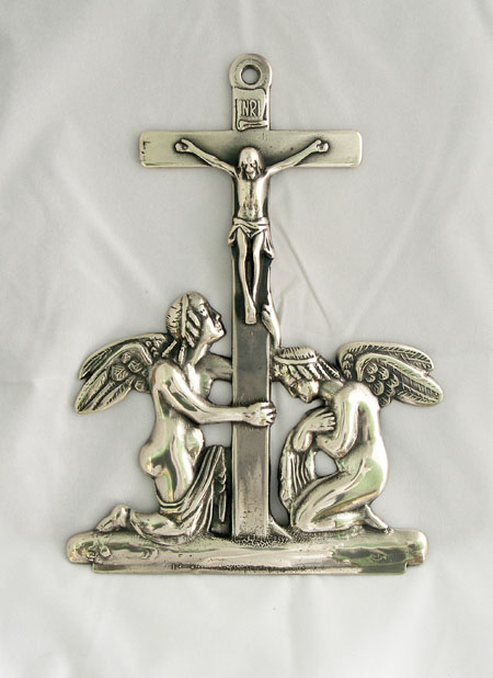 """Crucifixion With Angels Plaque Silver-Plated Brass 7"""""""