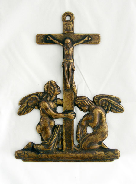 Crucifixion With Angels Plaque Antiqued Brass 9""