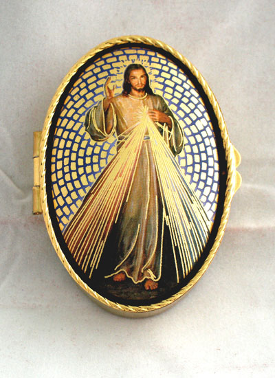 "Divine Mercy Rosary/Pill Box 1.75""X 2.5"""