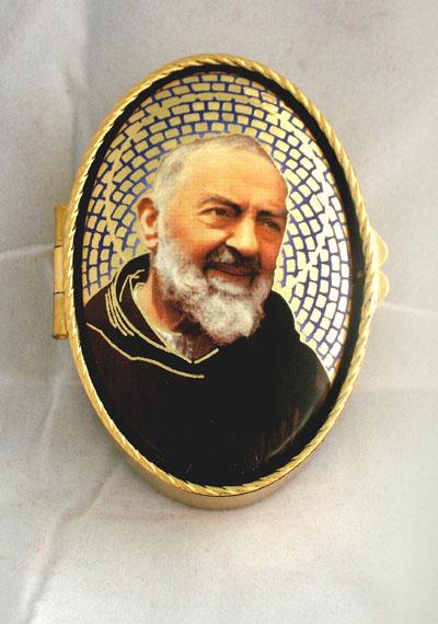 "Padre Pio Rosary/Pill Box 1.75""X 2.5"""