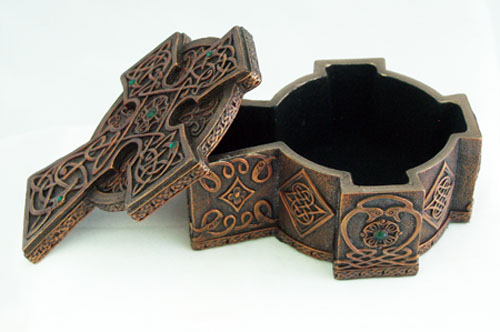 Celtic Cross Box Cold-Cast Copper 3.25X4.25X2""