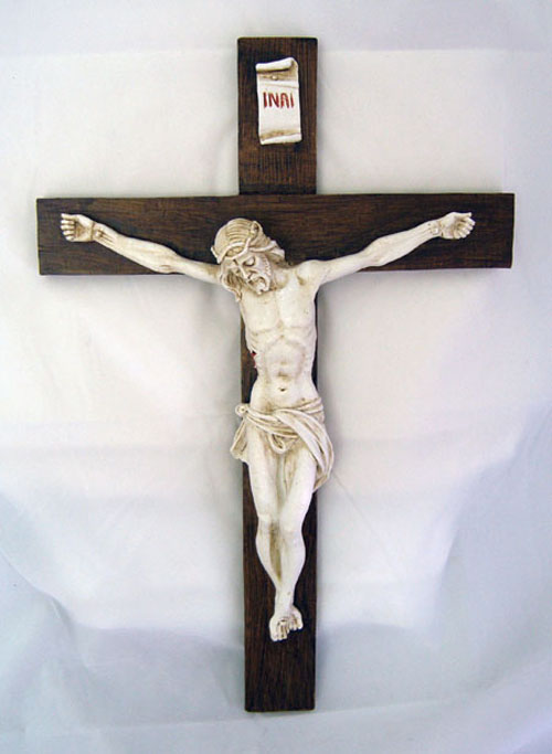 "Crucifix Antiqued Alabaster 15"""