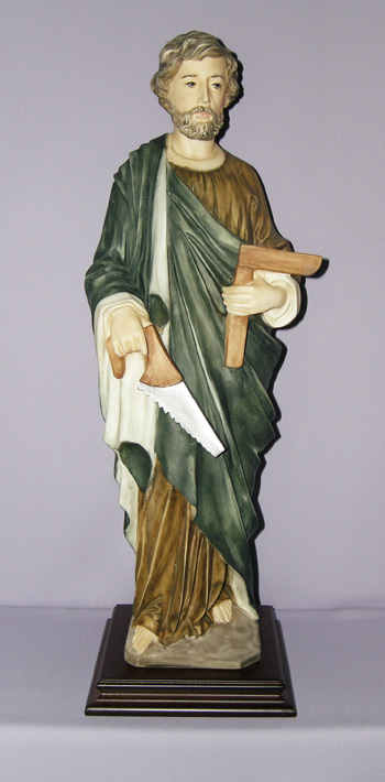 St. Joseph The Worker By Ennio Furiesi In Hand-Painted Alabaster 24""