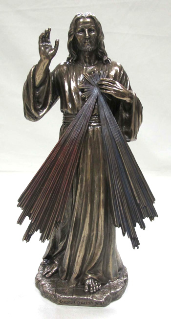 Divine Mercy Cold-Cast Bronze Lightly Hand-Painted 12""