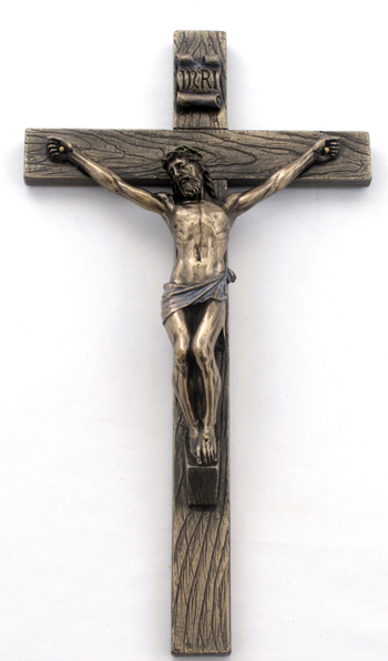 Crucifix Cold-Cast Bronze Lightly Hand-Painted 10""
