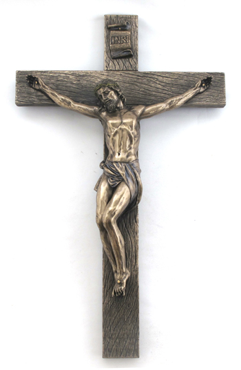 Crucifix Cold-Cast Bronze Lightly Hand-Painted 17""