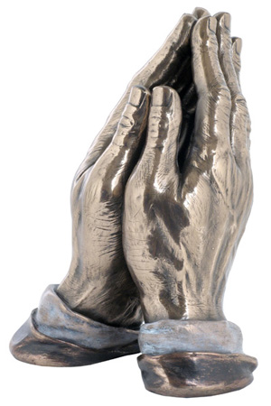 """Praying Hands Cold-Cast Bronze Lightly Hand-Painted 7.5"""""""