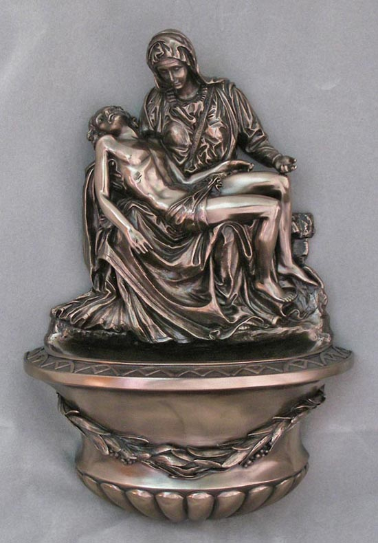 Pieta Font Cold-Cast Bronze 10""