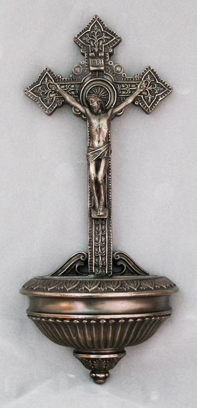 Crucifixion Font Cold-Cast Bronze 11""